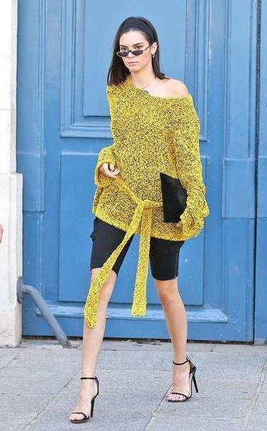 Kendall-jenner Shoes Black Sweater Sandal Heels Sandals Kendall Jenner Shoulder Model Duty Paris Fashion Week      Fashion Week      Shorts Shoes cover image