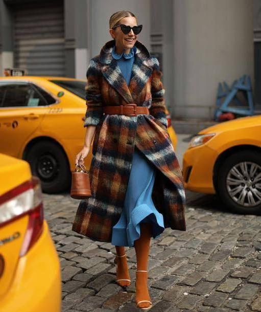 Coat Multicolor Coat Wool Coat Checkered Belt Sandals Socks Sandals Handbag Heart Sunglasses Midi Dress Ruffle Dress cover image