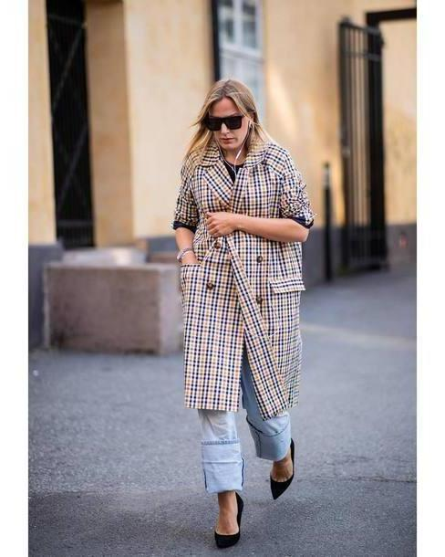 9a756c68b6 Coat Multicolor Coat Pumps Checkered Sunglasses Jeans Black cover image