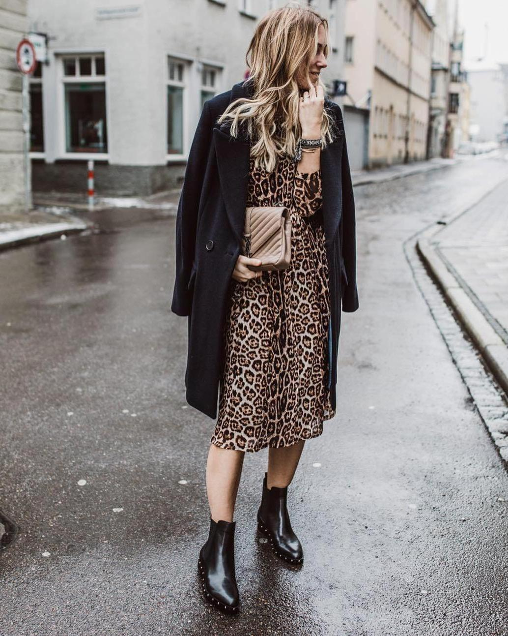 Coat Leopard Coat Midi Dress Ankle Boots Leopard Print Black Boots Black Coat Oversized Coat Bag cover image
