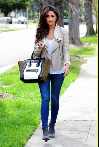 Coat Metallic Coat Tan Leather Jacket Black Boots Blue Skinny Jeans White Shirt Blouse Bag Jacket Pants Shoes cover image
