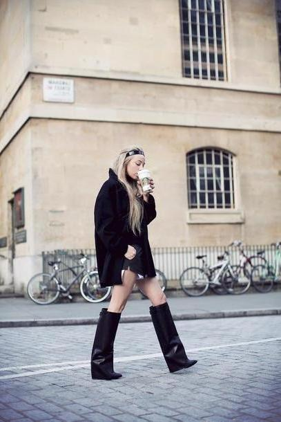 Coat Black Inch Coat Sweater Shorts Shoes cover image