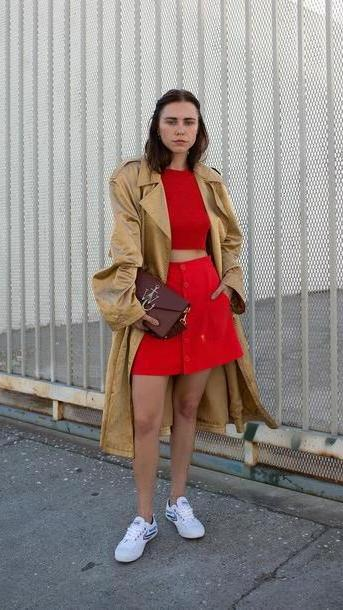 Coat Gold Judging Blogger Coat  Skirt Bag Shoes J W Anderson Bag Mini Skirt Red Skirt Crop Tops Red Gold Coat Gold J W Anderson Jw Anderson Bag cover image