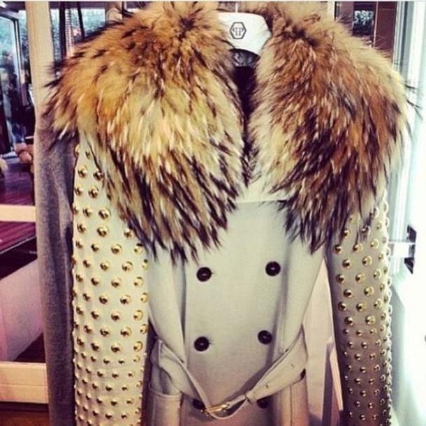 Coat Beige Coat Fur Studs Winter Coat Peacoat Belt Buttons Fau Fur Coat Beige cover image