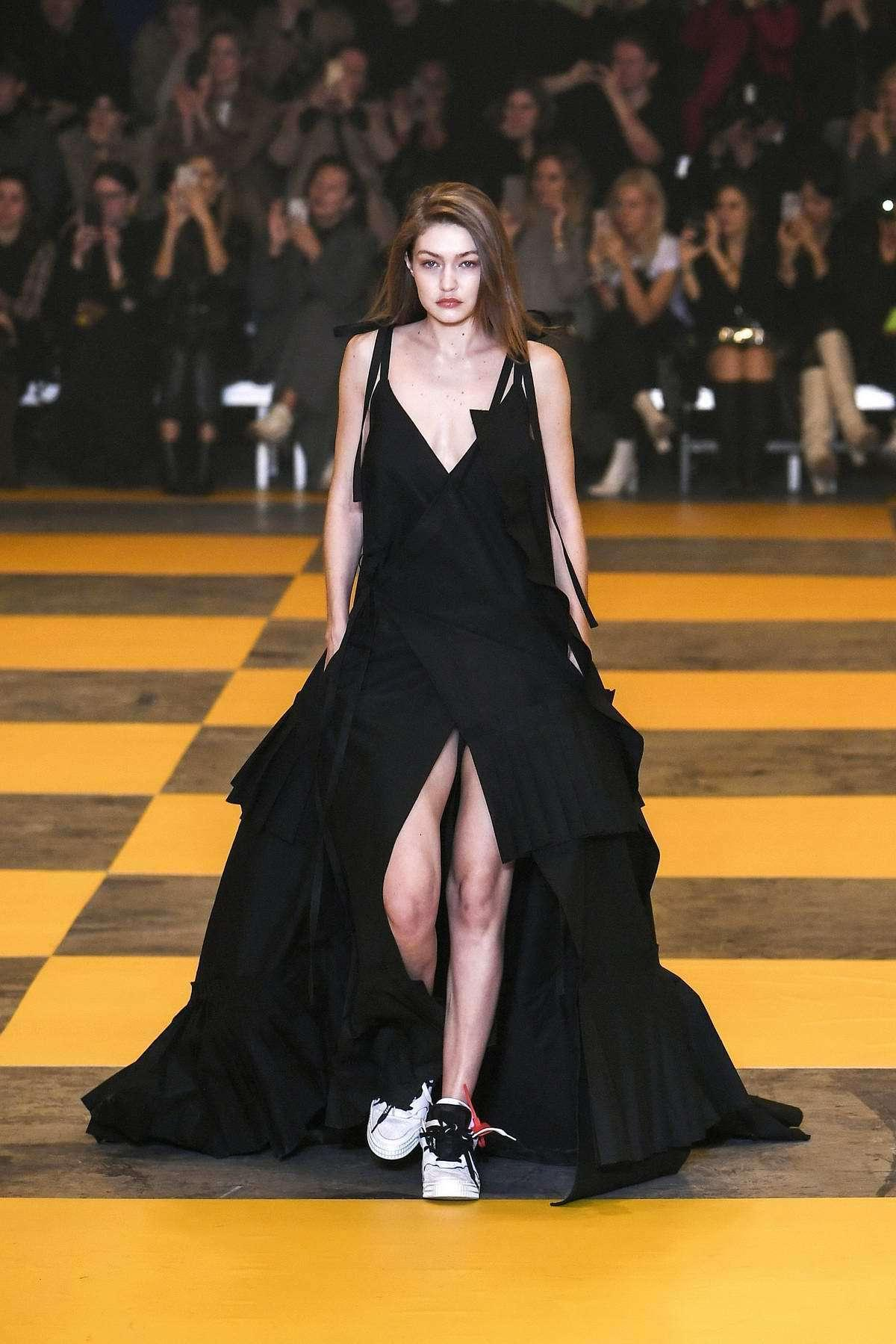 Gigi-hadid Shoes White Shoes Dress Black Dress Mai Dress Sneakers Gigi Hadid Runway Model cover image