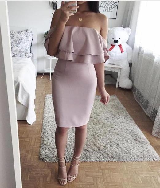 Lingerie Dress Pink Dress Shoulder Dress Pink Dress Bodycon Dress Bardot Dress Ruffle Dress Ruffle Frill Bodycon Party Dress Sey Party Dresses Sey Lingerie Sey Dress Party Outfits Sey Outfit Midi cover image
