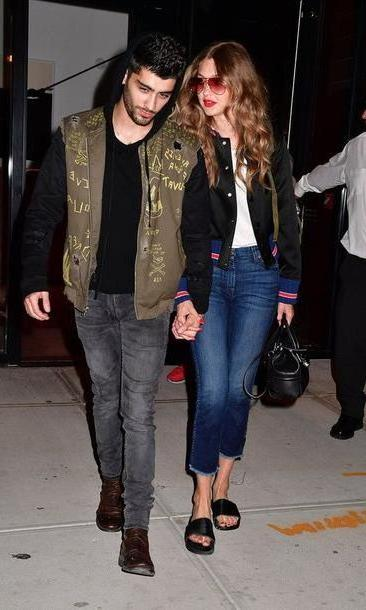 Gigi-hadid Shoes Black Jeans Bag Gigi Hadid Jacket Shoes Slide Shoes Sunglasses Zayn Malik Couple Menswear Mens T Shirt Mens Shirt Pink Sunglasses Bomber Jacket Black Bomber Jacket Skinny Jeans Cropped J cover image