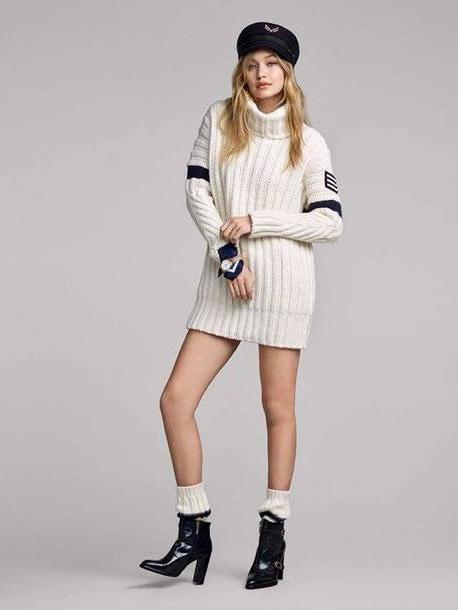 Gigi-hadid Dress White Fashiongonerogue Blogger Hat Sweater Dress Jewels Shoes Coat Pants Tommy Hilfiger Ankle Boots Model Oversized Sweater Tunic Dress Gigi Hadid Fall Outfits Socks cover image