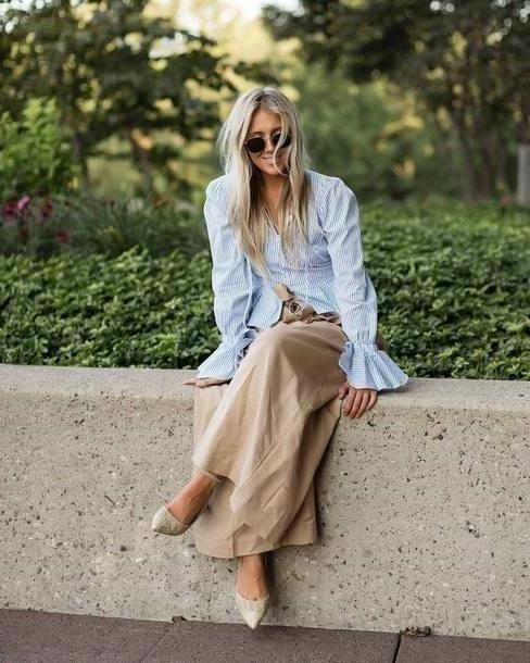 Pants Beige Pants Wide Leg Beige Pants Wide Leg Pants Beige Pants Shirt Blue Shirt Shoes Bell Sleeves cover image