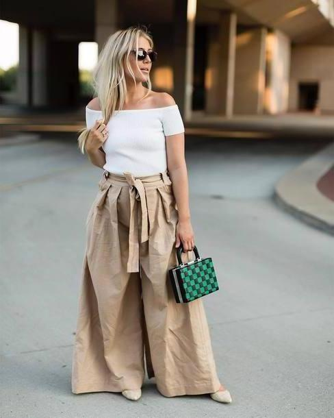 Pants Beige Pants Wide Leg Beige Pants Wide Leg Pants Beige Pants  White Shoulder Shoulder Bag Boed Bag cover image