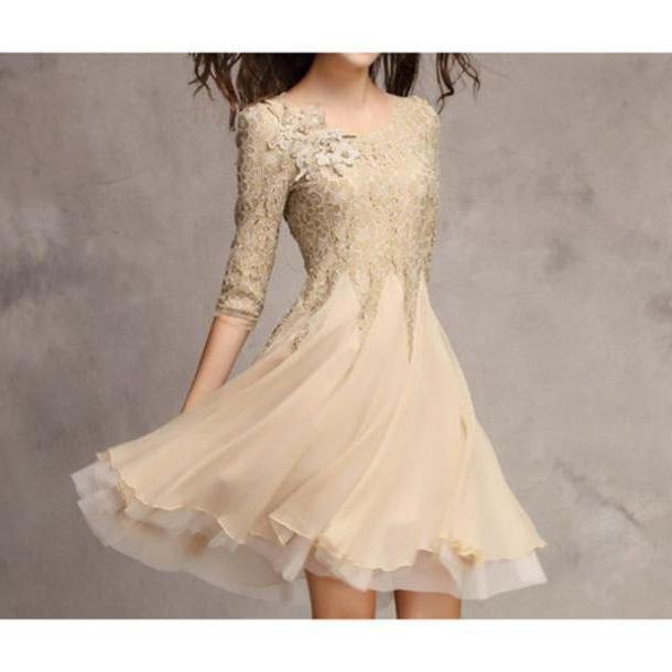 Dress Beige Dress Beige Glitter Flower Summer Plisee Nude Dress Nude Cute Dress Cute Prom Dress Prom cover image
