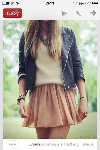 Skirt Beige Jacket Leather Jacket Skirt Sweater Jewels cover image