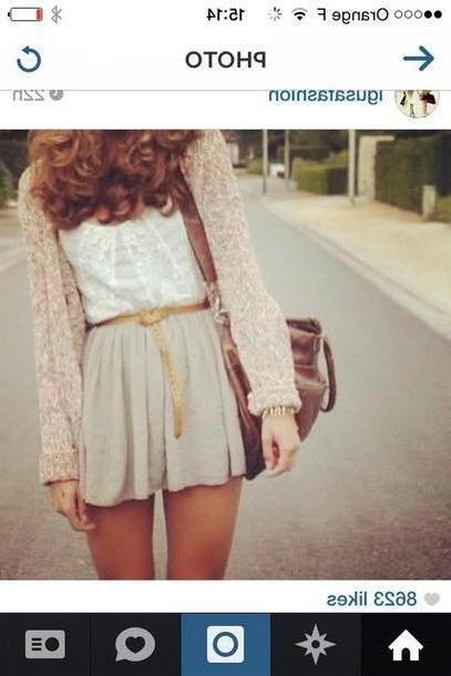 Skirt Beige Shirt Skirt Sweater Bag cover image