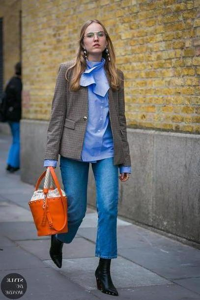 Orange Shoes Black Jacket Tumblr Streetstyle Blazer Grey Blazer Gingham Shirt Blue Shirt Bag Orange Bag Boots Black Boots Ankle Boots Denim Jeans Blue Jeans Cropped Jeans Styledumonde Blogger cover image