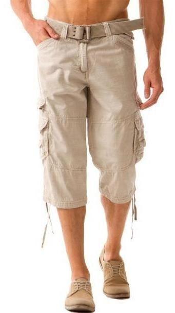 Pants Beige Pants Khaki Mens Capris Cargo Mens cover image