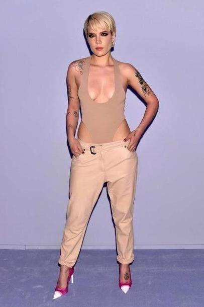 Pants Beige Pants Ny Fashion Week      Fashion Week      Halsey Nude Bodysuit Edgy Sey Pumps cover image