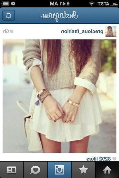 Skirt Beige Sweater Bag Jewels Skirt cover image