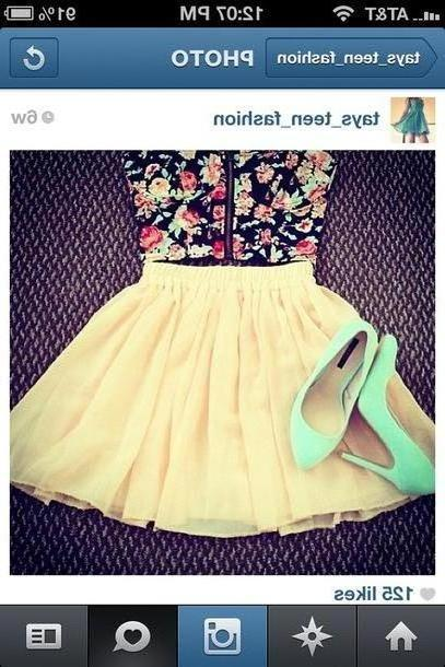Skirt Beige Blouse Floral Print Blouse Skirt High Heels Shoes cover image