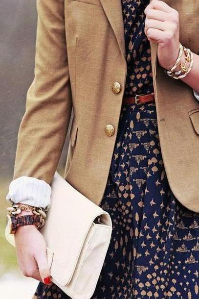 Dress Beige Dress Prep Preppy Classy Pattern Blazer Jacket Bag cover image