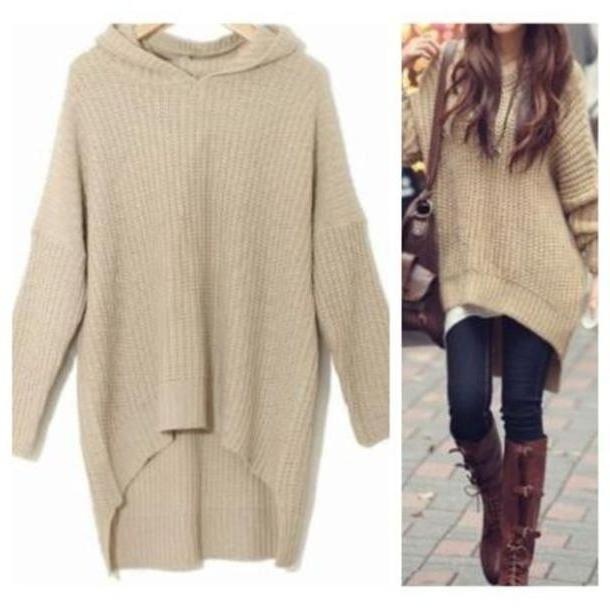 7982224fb Sweater Beige Sweater Knit Sweater Khaki Cozy Sweater Hi Low Hooded Cute  Hoodie Fashion Pullover Clothes
