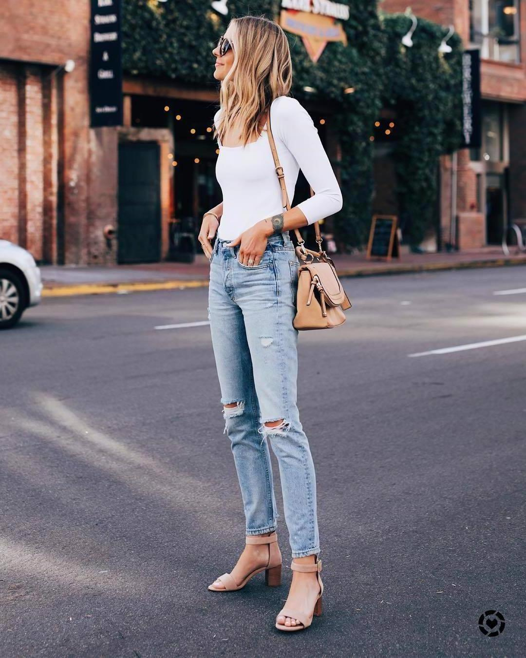 61037b11ac76 Jeans Denim Jeans Ripped Jeans High Waisted Jeans Straight Jeans Sandal  Heels White Long Sleeves Shoulder