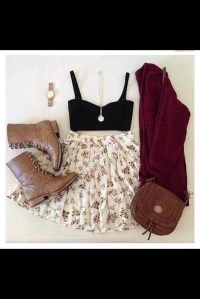 Skirt Beige Bag Skirt Shoes Tank Sweater Cardigan cover image