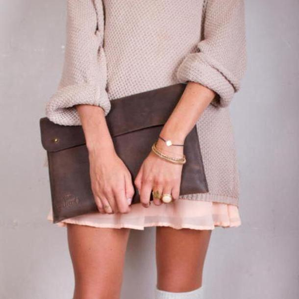 Dress Beige Dress Pink Rings Bag Sweaterdress cover image