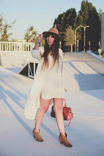 Dress Beige Fringe Frange Shoes Dress Jacket Hat cover image