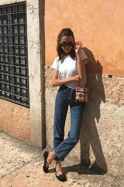 Jeans Denim Jeans Straight Jeans Ballet Flats White T Shirt Handbag Black Sunglasses cover image