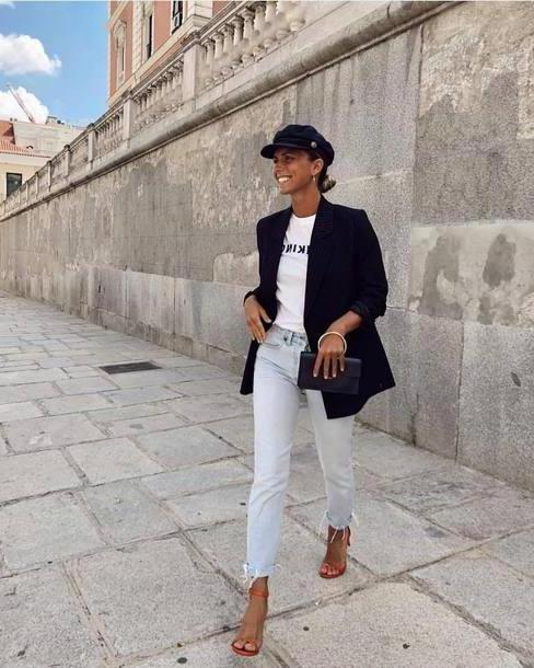 Jeans Denim Jeans Light Blue Jeans High Heel Sandals Clutch White T Shirt Black Blazer Fisherman Cap Earrings cover image