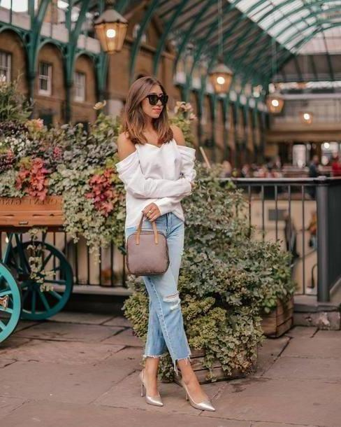 Jeans Denim Jeans Ripped Jeans Cropped Jeans Pumps Shoulder Sunglasses Handbag cover image