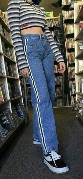 Jeans Denim Jeans Denim Blue Black White Stripes Streetwear Vintage Long Model cover image