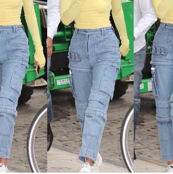 Jeans Denim Pants Jeans Denim Kendall Jenner Kardashians Yellow Streetstyle Fashion Week Cargo Fall Outfits cover image