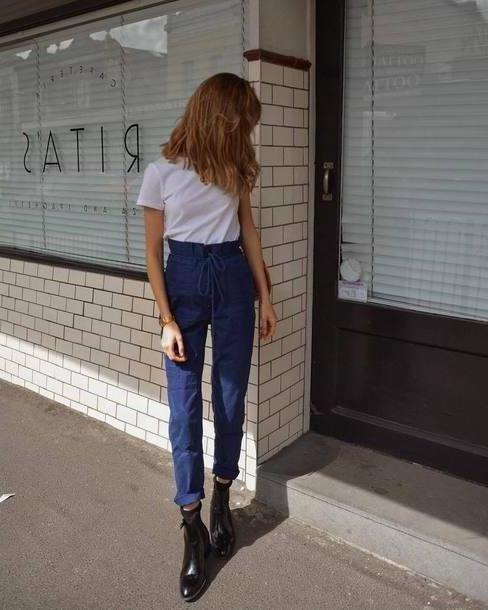 Jeans Denim Jeans High Waisted Jeans White T Shirt Vinyl Black Boots Shoulder Bag cover image