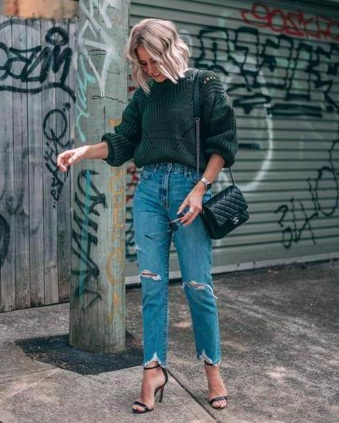 Jeans Denim Jeans Dress Ripped Jeans High Waisted Jeans Jumper Knitwear Shoulder Bag High Heel Sandals cover image