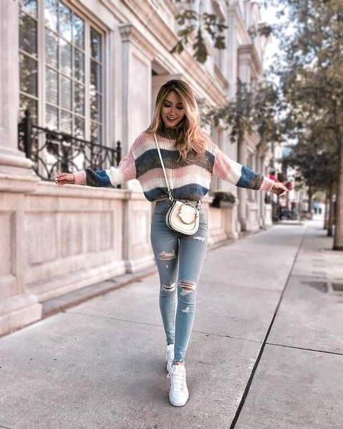 Jeans Denim Jeans Ripped Jeans Skinny Jeans White Sneakers Jumper Striped Sweater Crossbody Bag cover image