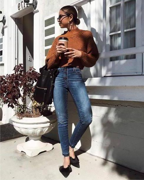 Jeans Denim Jeans Skinny Jeans High Waisted Jeans Mules Handbag Black Bag Cropped Sweater Sweater Sunglasses Earrings cover image