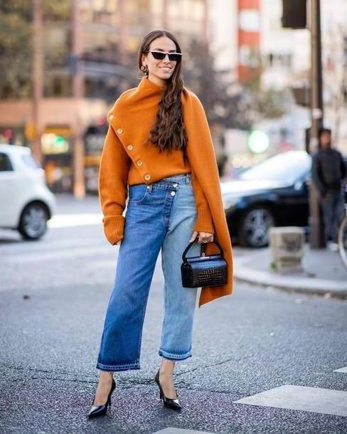 Jeans Denim Jeans Cropped Jeans Pumps High Heel Pumps Jumper Oversized Sunglasses Earrings Handbag cover image