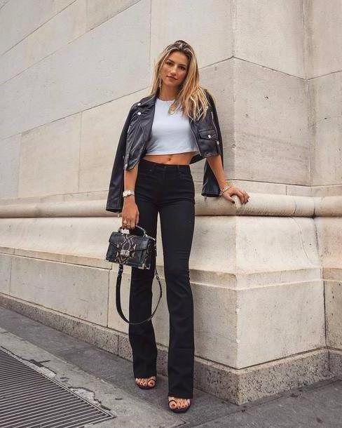 Jeans Denim Jeans Flare Jeans Black Denim High Waisted Jeans Cropped T Shirt Cropped Jacket Leather Jacket Sandals Handbag cover image