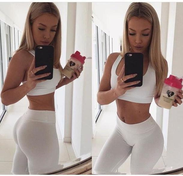 Activewear Neutrals Tights Tammyhembrow White Activewear Set White Tights Matching Set Singlet Crop White Crop Tops Tammy Hembrow cover image