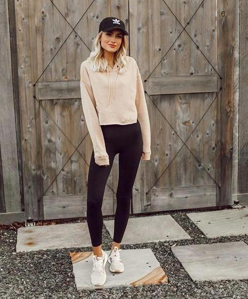 Activewear Neutrals Cropped Hoodie Nude Leggings Black Leggings Sneakers Hoodie Cap Baseball Cap Sporty Sportswear Activewear cover image