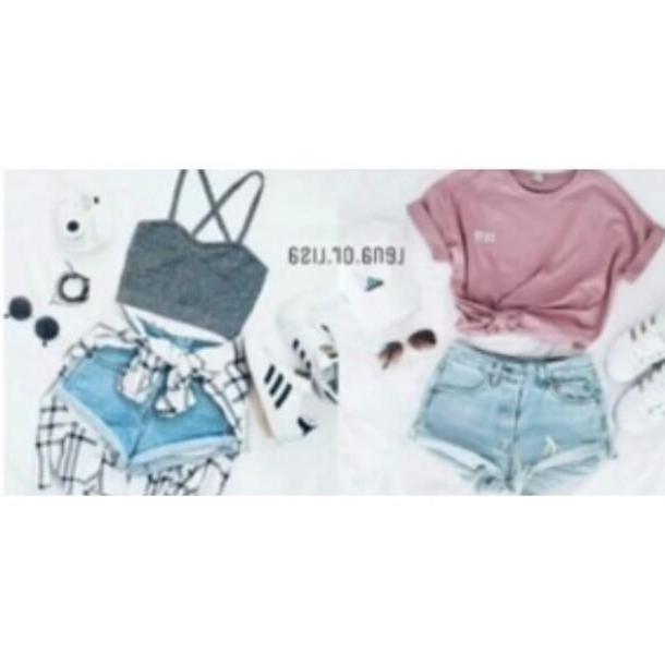 Lisa-and-lena Neutrals Lisa Lena Gray Shirt Pink Denim Shorts Cotton Clothes Girl Shirts cover image