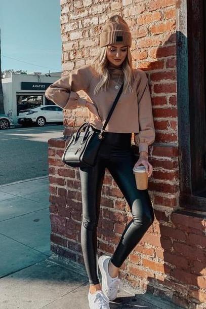 Hoodie Sweater Brown Sweater Lauren Bushnell Celebrity Instagram Leggings Beanie Sneakers Hoodie Fall Outfits cover image