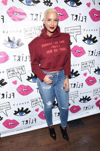 Hoodie Sweater Red Sweater Hoodie Cropped Sweater Cropped Hoodie Amber Rose Jeans Fall Outfits cover image