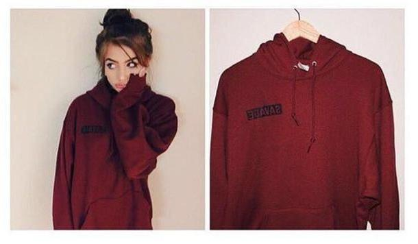 Hoodie Sweater Red Sweater Hoodie Red Sweater Burgundy Cute Cotton Winter Sweater Fall Sweater cover image