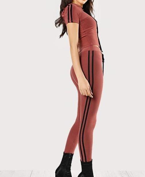 Pants Beige Pants Girly Piece Matching Set Stripes Black Crop Tops Crop Cropped Leggings cover image