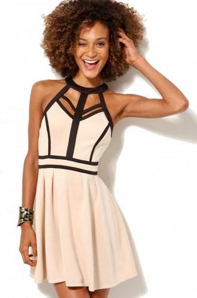 Dress Beige Dress Sey Dress Party Dress Summer Dress Stripped Dress Shopakira cover image