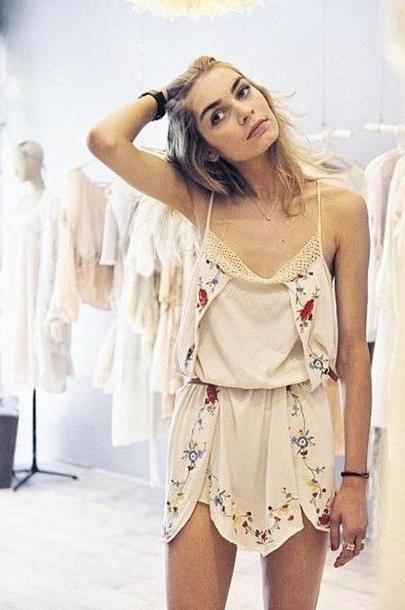 Dress Beige Dress Earthy Romper Tumblr Vintage Boho Hippie Playsuit Summer Cream Floral Cute Flowers Lace Strappy Silk Florals Boho Cute Dress cover image