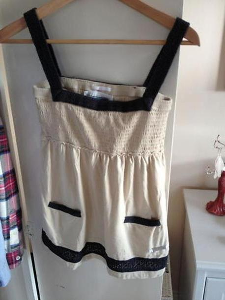 Dress Beige Dress Superdry  Summer Vintage Black Straps Small Cream Fawn cover image