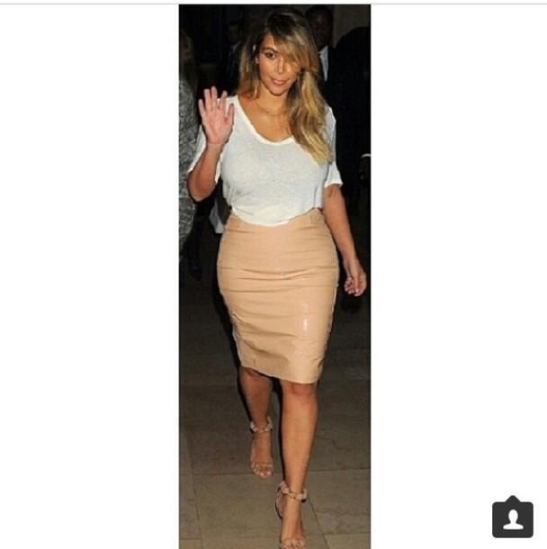 Skirt Beige Skirt Kim Kardashian cover image